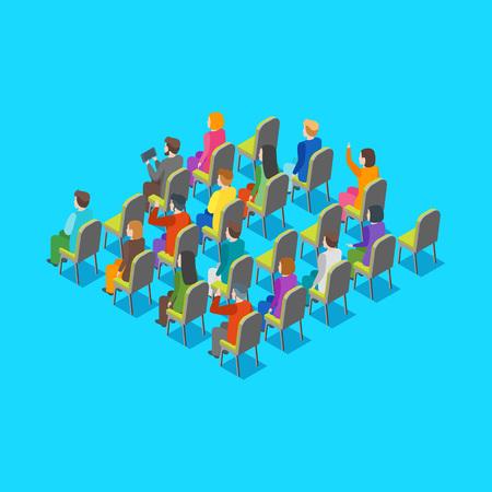 Isometrische Ansicht des Politiker-Geschäftspublikum-Konzeptes 3d auf einem Blau. Vektorillustration Vektorgrafik