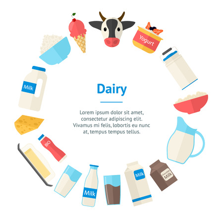 Cartoon Color Milk Products Banner Card Circle Dairy Concept Flat Design Style Include of Bottle, Yogurt, Cheese and Splash. Vector illustration  イラスト・ベクター素材