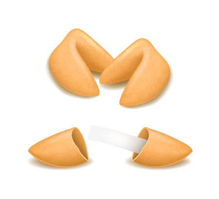 Realistic Detailed 3d Fortune Cookies Set. Vector Vettoriali