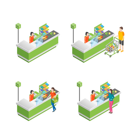 Pay in Store Set 3d Isometric View. Vector