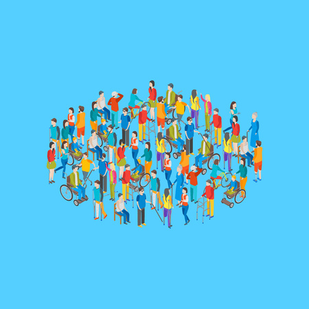 Isometric Disabled People Characters Grouping on a Blue Background. Vector