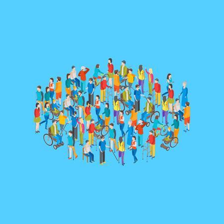 Gruppierung isometrisch behinderter Personen, die auf einem blauen Hintergrund gruppiert werden. Vektor