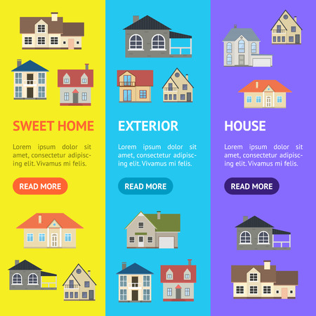 Cartoon Houses Exterior Banner Vecrtical Set . Vector
