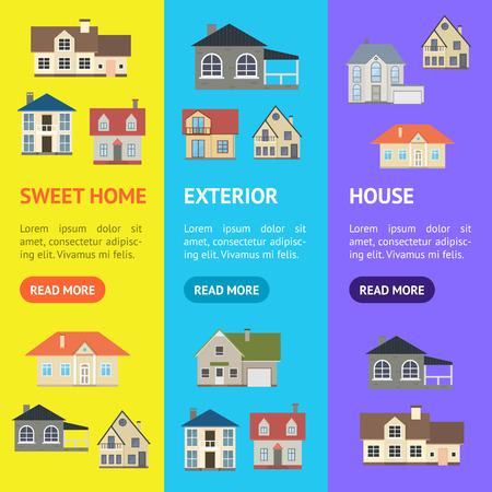 Cartoon Houses Exterior Banner Vecrtical Set . Vector
