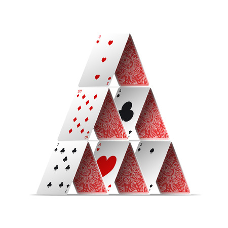 Realistic Detailed 3d House of Poker Card. Vector