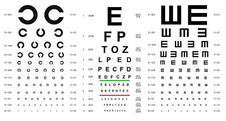 Eye Test Chart Placard Banner Card Set. Vector Banco de Imagens