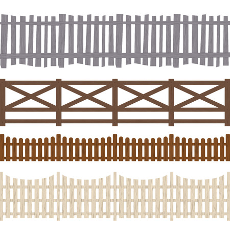 Cartoon Color Wooden Fence Seamless Pattern Background. Vector