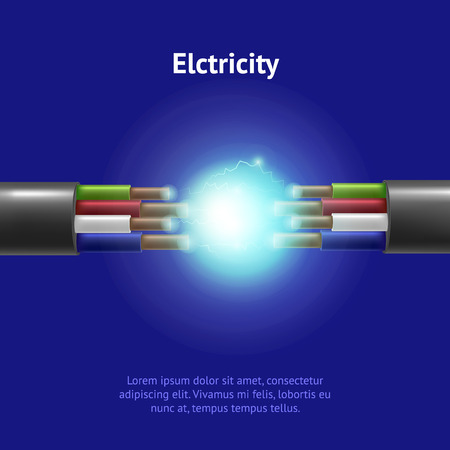 Realistic Detailed 3d Electric Cable Break Card. Vector