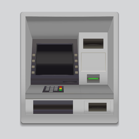 Realistic Detailed 3d Atm Machine Interface with Keypad Slot for Credit Card and Currency. Vector illustration of Payment Terminal