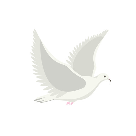 Cartoon White Flying Dove Bird Sideways. Vector Çizim