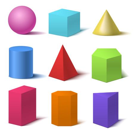 Ensemble de formes de base de couleur 3d détaillé réaliste. Vecteur