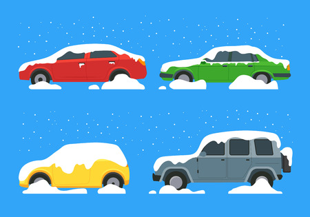 Cartoon Color Cars Covered Snow Icon Set Winter and Blizzard Concept Element Flat Design Style. Vector illustration of Icon Car Illustration