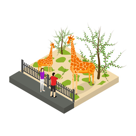 Public Zoo Concept 3d Isometric View Giraffe at Zoological Garden. Vector illustration