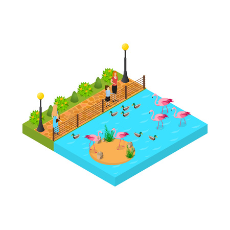 Public Zoo Concept 3d Isometric View. Vector