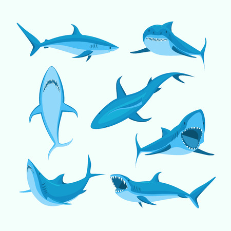Cartoon Blue Characters Shark Sign Icon Set. Vector