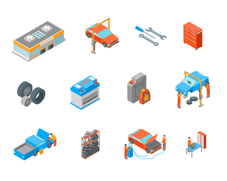 Auto Service Signs 3d Icon Set Isometric View. Vector