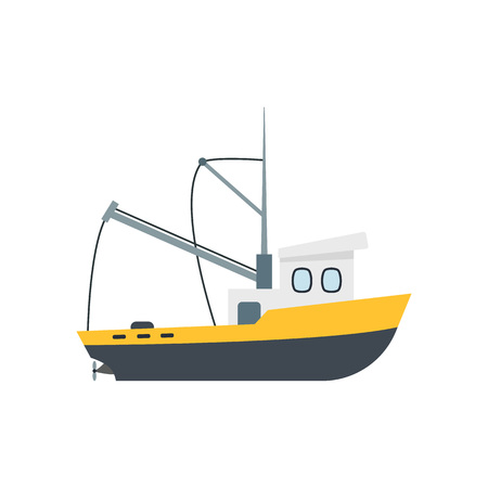 Cartoon Commercial Fishing Industry Ship Isolated on a White Background Element Flat Design Style. Vector illustration