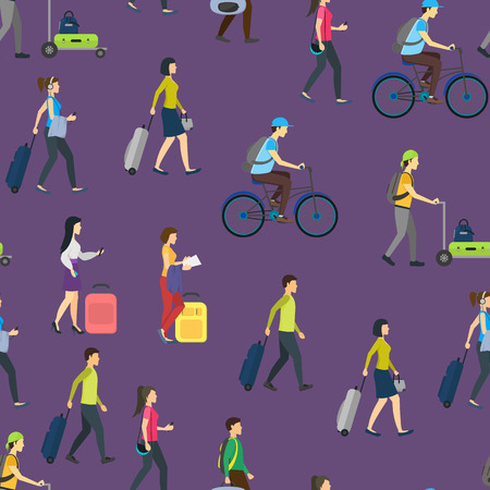 Cartoon People Traveling Seamless Pattern Background. Vector
