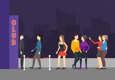 Entrez dans un dessin animé de concept de club comprenant une foule de personnes et un style de conception plate d'élément de construction. Illustration vectorielle de boîte de nuit
