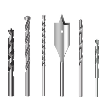 Realistic 3d Detailed Metallic Drill Bits Set Tools for Construction Work, Drilling Hole. Vector illustration of Bit