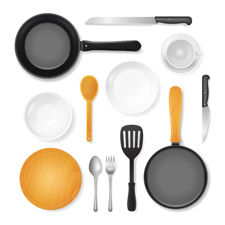 Realistic 3d Detailed Kitchenware or Kitchen Utensils Set Include of Spoon, Pan, Fork, Knife and Dish. Vector illustration 일러스트