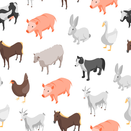 Farm Animals 3d Seamless Pattern Background Isometric View Include of Cow, Pig, Sheep, Horse, Hen and Goat. Vector illustration
