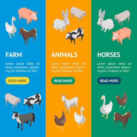 Farm Animals 3d Banner Vecrtical Set Isometric View Include of Cow, Pig, Sheep, Horse, Hen and Goat. Vector illustration