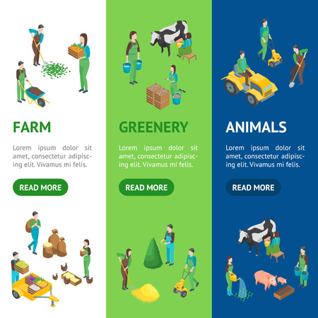 Farmers at Work 3d Banner Vecrtical Set Isometric View Include of Watering, Cultivation, Dig, Collect and Planting. Vector illustration Ilustrace