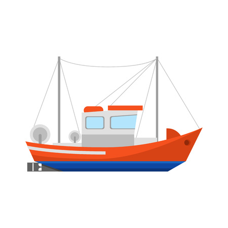 Cartoon Fishing Boat Icon on a White Ship or Vessel Marine Transport Element Concept Flat Design Style. Vector illustration of Motorboat