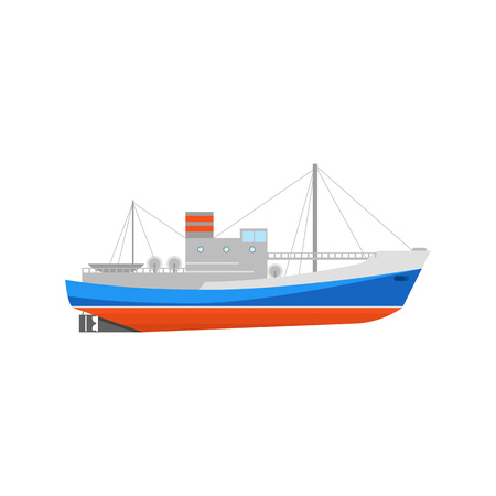 Cartoon Fishing Boats Icon on a White Ship or Vessel Marine Shipment Transport Element Concept Flat Design Style. Vector illustration Иллюстрация