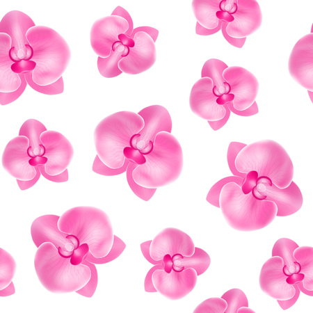 Realistic Detailed 3d Flower Orchid Seamless Pattern Background. Vector Stock fotó