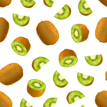 Realistic Detailed 3d Raw Whole Green Kiwi and Slices Seamless Pattern Background on a White Ingredient of Juice. Vector illustration of Kiwifruit and Parts