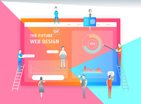 Web Page Design Concept Banner Card with Elements Include of Menu, Button, Graphic and People. Vector illustration Illustration