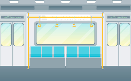 Cartoon Empty Subway Train Card Poster. Vector 스톡 콘텐츠 - 112712783