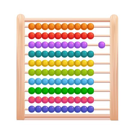 Ábaco de madera de color detallado 3d realista. Vector