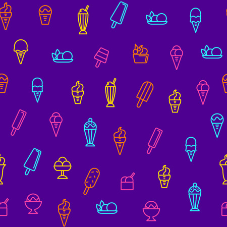 Ice Cream Signs Thin Line Seamless Pattern Background Include of Dessert, Cone, Sundae and Sorbet. Vector illustration of Icons Vettoriali