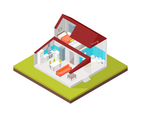 Home in Section Concept 3d Isometric View Building Architecture for Marketing and Promotion. Vector illustration