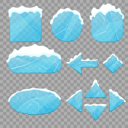 Realistic 3d Detailed Ice Buttons Set on a Transparent Background. Vector illustration of Button and Winter Snow Cap Illustration