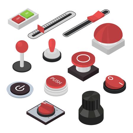 Différents boutons signent 3d Icon Set Isometric View Inclure des interrupteurs à bascule et des régulateurs. Illustration vectorielle d'icônes