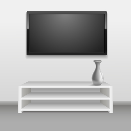 Realistic 3d Detailed Black LED Tv on White Wall Interior of a Room, Hotel or Office. Vector illustration
