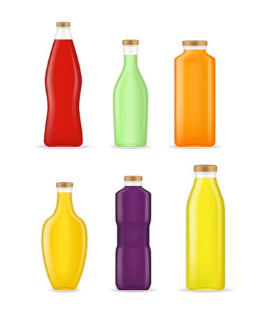 Realistic Detailed 3d Different Types Juice Bottle Glass Set. Vector Standard-Bild - 112951788