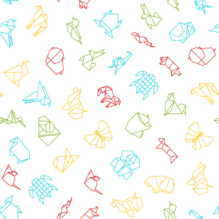 Origami Signs Thin Line Seamless Pattern Background. Vector Standard-Bild - 112951792