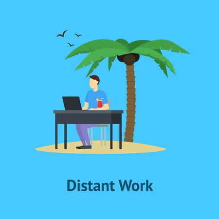 Cartoon Distant Work Men Card Poster. Vector Standard-Bild - 112951804