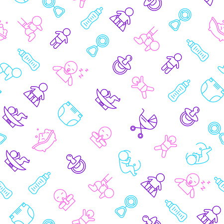 Newborn Babies Signs Thin Line Seamless Pattern Background. Vector Standard-Bild - 112951814