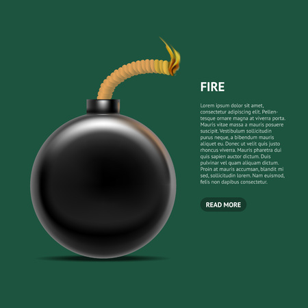 Realistic Detailed 3d Bomb Fire Card Poster. Vector Standard-Bild - 112951816