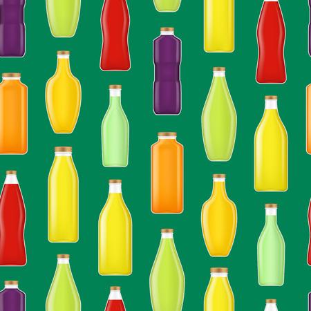 Realistic Detailed 3d Different Types Juice Bottle Glass Seamless Pattern Background. Vector Standard-Bild - 112951819