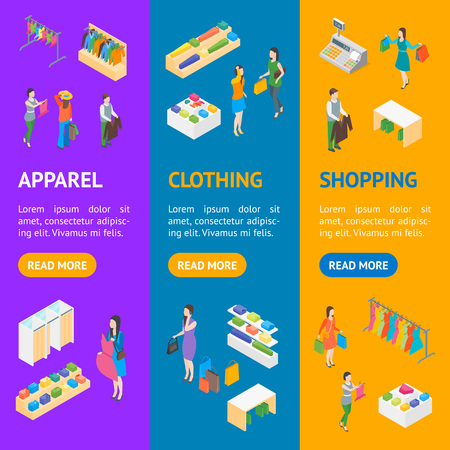 Trendy Clothing Store Interior with Furniture Banner Vecrtical Set Isometric View. Vector illustration of Fashion Shop or Boutique with People Standard-Bild - 112951853