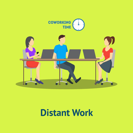 Cartoon Group of Distant Work Characters People Card Poster. Vector Standard-Bild - 112951865