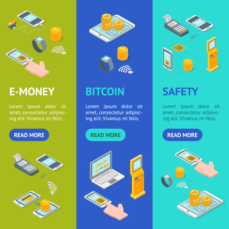 Online Payments Signs 3d Banner Vecrtical Set Isometric View Include of Money, Bank, Service, Phone, Credit Card and Hand. Vector illustration Vectores