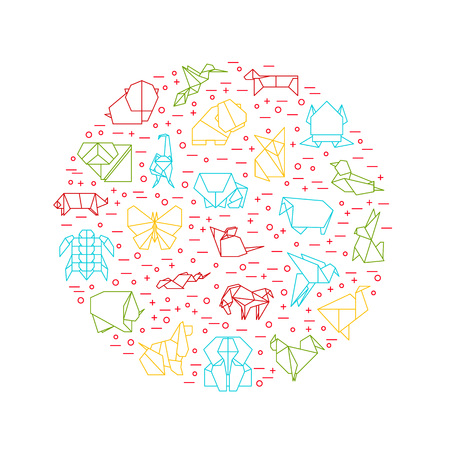 Origami Signs Thin Line Round Design Template. Vector Standard-Bild - 112951875